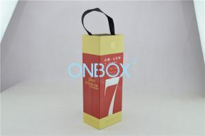 China Handle Strip Wine Packaging Boxes / Alcohol Box Customized Logo Printing on sale