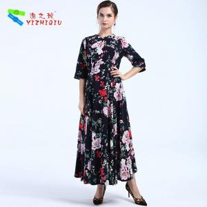 China Adults Cotton Summer Clothing Dress Fit And Flare Silhouette , Floral Pattern Type on sale