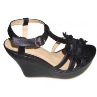 Custom 12cm Heels Summer / Spring PU Material Black Ladies Wedge Sandals Retail /Wholesale