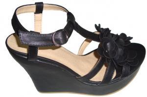 China Custom 12cm Heels Summer / Spring PU Material Black Ladies Wedge Sandals Retail /Wholesale on sale