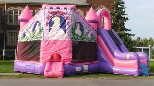China New Commercial Inflatable Pink Princess Castle Combo Slide Bounce House Moonwalk on sale