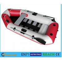 White And Red Inflatable Drift Boat , Water Inflatable Fishing Boats Electronically Welded Seams