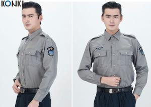 Polyester Cotton Male Security Officer Uniforms Blue Long