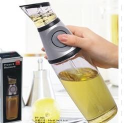 China Glass Vinegar Press And Measure Oil Dispenser 500ml With Silicone Button on sale