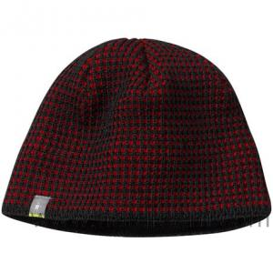 China fully customized design maroon black checked pattern hollow knitted knitting beanie on sale