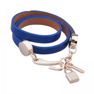 China Ladies Leather Charm Bracelets , Lock And Key Jewelry Wrap Bracelets For Women on sale