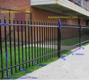 China Multi Function Black Steel Fence Steel Garden Fencing For Park / Apartment on sale