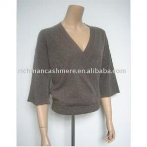 China lady's V-neck cashmere pullover on sale