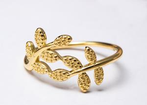 China New Leaf Ring Women'S Gold 925 Sterling Silver Rings Fashion Hand Jewelry on sale