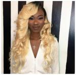 1b / 613 Blonde Color 100% Peruvian Ombre Hair Extensions Human Hair No Shedding