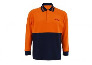 China Breathable High Visibility Long Sleeve Polo Shirts , Safety Polo Shirt Reflective Tape on sale