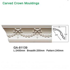 China 2017 new style polyurethane foam architectural lightweight crown moulding pop ceiling design wholesale
