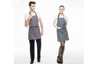 China Black And White Stripes Kitchen Cooking Aprons Adjustable With Widen Strap Design supplier