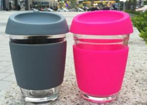 China Glass Coffee Cup With Silicon Lid / Drinking Glass Cup With Silicon Case on sale