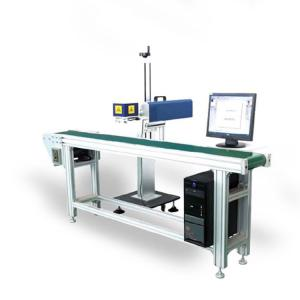 China Aluminum Flying Laser Marking Machine / Laser Engraving Machine With Convery Belt on sale