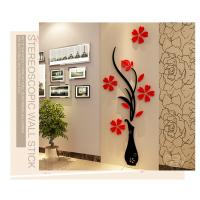 Factory cost home decoration flower vase wall decal stickers acrylic 3d