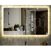 China Smart Bathroom No Touch Button Square Backlit Wall Mounted Anti-fog LED Makeup Mirror on sale