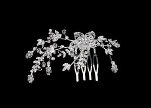 China Women's succinct crystal bridal hair comb 925 sterling silver jewellery TL0951 on sale