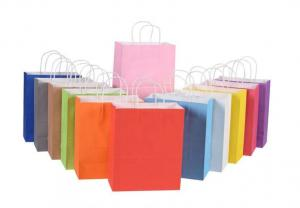China Twist Handle CMYK Colored Paper Bags With Handles on sale