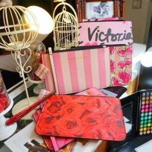 China Victoria's Secret pink Wallets Leather Zipper Clutch Coin Purse Lady designer Wristlet on sale
