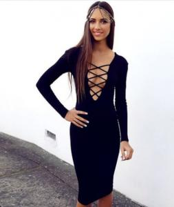 China Front Cross Cut Out Bandage Dress Long Sleeves Rayon Nylon Spandex Material on sale