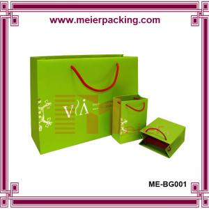 China Cosmetic paper packaging bag/Jewelry paper gift bag/Green printed shopping paper bag ME-BG001 on sale