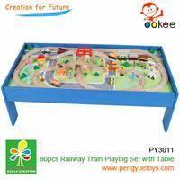 China Wooden Railway Train Set on sale