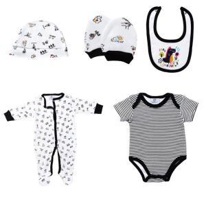 China New Born Baby Boy Clothing Sets 100% Cotton Infants Bodysuits 5 Pcs Set on sale