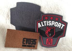 China Fashionalbe Custom 3D Rubber Logo Patches , Injection Sew On T Shirt Patch on sale