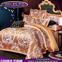Golden Color King Size Cotton Fabric Luxury Wedding Jacquard Bedding Sets