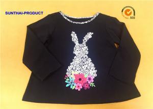 China Floral Rubber Print Children T Shirt Long Sleeve Contrast Neck Binding Black Girl T Shirts on sale