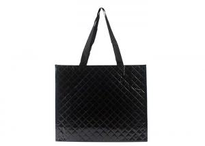 China Reusable Water Resistant Laminated Tote Bags Black Diamond Pattern European Style on sale
