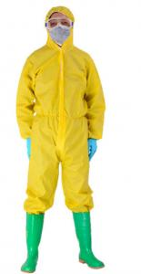 China General Purpose Yellow PP + PE Non Woven Protective Coverall Suit With Ultrasonic Welding on sale
