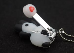 China Cartoon panda shape nail clippers for gifts toe nail cutter with keyring supply on sale