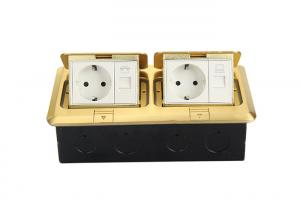 China Brass Alloy RJ45 Floor Socket , Floor Mounted 2 Gang Socket Outlet With Quick Connect on sale