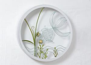 China Round Frame Fish And Flower Design Metal Wall Decoration For Home on sale