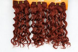 China Yaki Red Natural Human Hair Extensions Clip In Jerry Curly 16 Inches on sale
