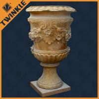 Outdoor yellow marble stone flower pots customized carving garden decoration