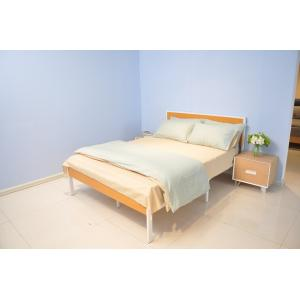 China Metal Slat Support Metal Frame Bed  With Wood Headboard / Mattress Foundation on sale