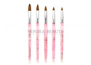 China Professional Popular Pink Nail Paint Art Brushes Set With High Quality Kolinsky Hair on sale