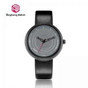 China Fashion Causal Automatic Leather Strap Watch , Quartz Mens Black Leather Watch on sale