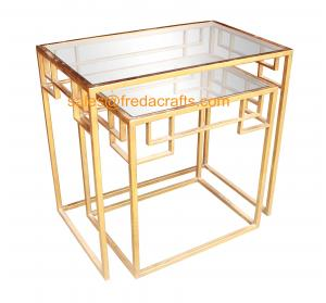 China New design tempered glass top with metal powder coated frame coffee table nesting table on sale