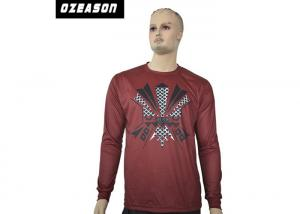China Maroon Colors Mens Sport Shirts Long Sleeve Shrink Resist Long Wearing Time on sale