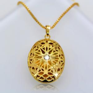 China design fashion Vintage Oval Locket Pendants jewelry 18k gold plating Put in solid perfume on sale