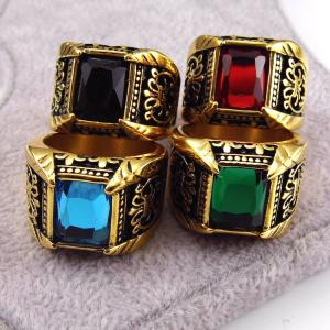 China wedding engagement Latest Gold Plated Stainless Steel Jewelry  Gold Finger Men's Ring Designs Four color on sale