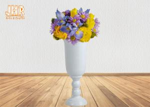 China Wine Cup Design Glossy White Fiberglass Planters Floor Vases Large Planters on sale