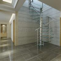Indoor stainless steel handrail glass spiral staircase