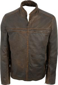 China Men's hooded black leather jacket on sale