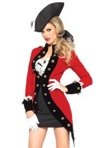 China Military Red Coat Womens Sexy Costumes  Halloween Party Dress on sale