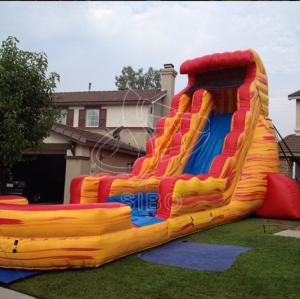 China Red Amazing PVC Tarpaulin Inflatable Water Slides Backyard Use on sale